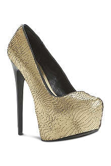 STEVE MADDEN Devona gold metallic platform heels