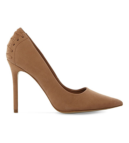 STEVE MADDEN Lattice-detail suede courts (Natural-nubuck