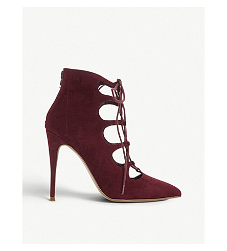 ccb2766a686 STEVE MADDEN Delightful lace-up suede heels (Burgundy-suede