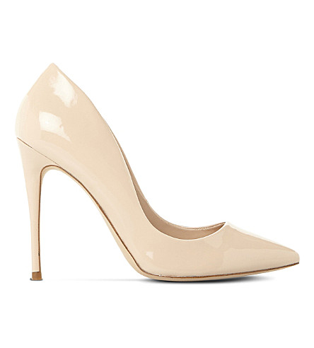 STEVE MADDEN Daisie patent-leather heeled courts (Nude-patent+synthetic