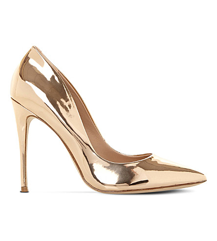 STEVE MADDEN Daisie metallic-leather heeled courts (Rose+gold-synthetic