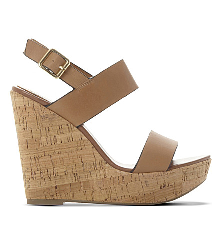 STEVE MADDEN Esme leather wedge sandals (Tan leather