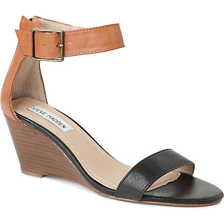 STEVE MADDEN Nanncy leather wedge sandals (Black