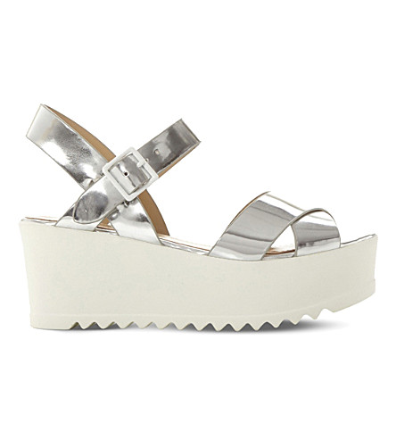 STEVE MADDEN Simpill metallic flatform sandals (Silver-synthetic