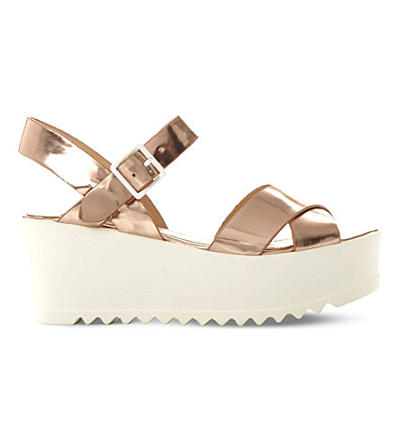 STEVE MADDEN Simpill metallic flatform sandals (Rose gold-synthetic