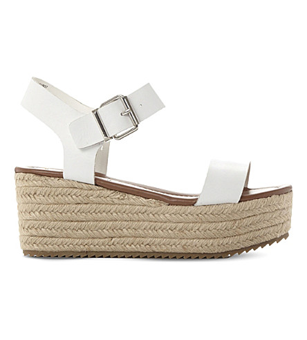 STEVE MADDEN Surfa espadrilles leather platform sandals (White-leather