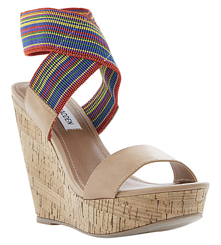 STEVE MADDEN Roperr wedge sandals (Multi-plain synthetic