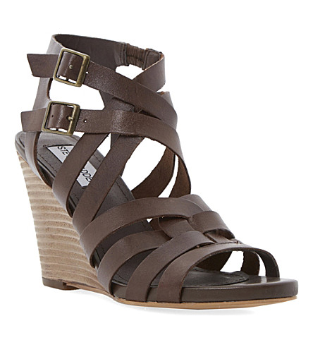 STEVE MADDEN Venis leather wedge sandals (Tan-leather