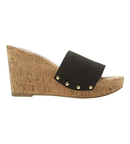 STEVE MADDEN Elasticated wedge sandal (Black-synthetic