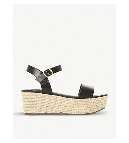 BUSY SM LEATHER AND JUTE PLATFORM SANDALS
