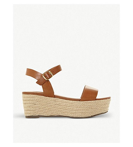 Buy Cheap Big Discount Find Great Cheap Online STEVE MADDEN Busy SM leather and jute platform sandals Tan leather d3BLy