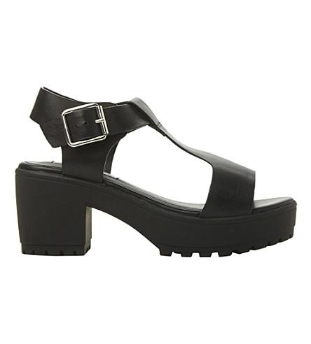 STEVE MADDEN Stefano t-bar heeled sandals (Black leather