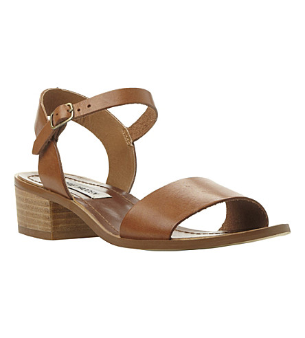 STEVE MADDEN Dense leather block heel sandals (Tan-leather