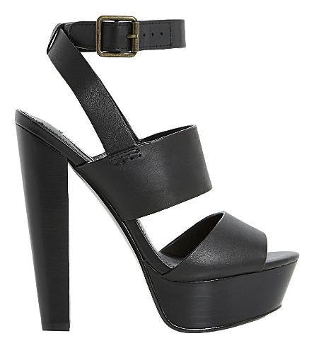 STEVE MADDEN Dezzzy platform heeled sandals (Black leather