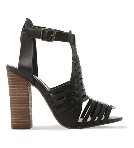 STEVE MADDEN Sandrina leather heeled sandals (Black-leather