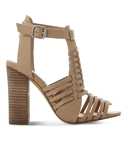 STEVE MADDEN Sandrina leather heeled sandals (Tan-leather