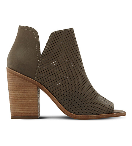 STEVE MADDEN Tala perforated nubuck boots (Khaki-nubuck