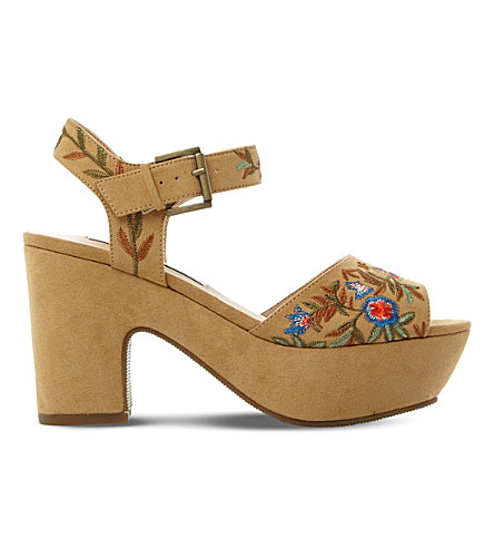 STEVE MADDEN Bonnie embroidered platform sandals (Tan-micro+fibre