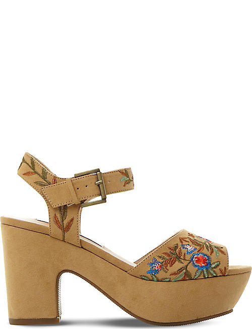 STEVE MADDEN Bonnie embroidered platform sandals