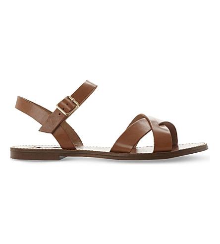 STEVE MADDEN Dublin leather flat sandals (Tan-leather