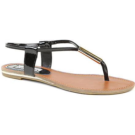 STEVE MADDEN Hamil patent leather thong sandals (Black-synthetic patent