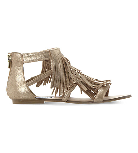 STEVE MADDEN Favorit metallic-leather sandals (Gold-suede