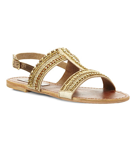 STEVE MADDEN Gildedd embellished T-bar sandals (Gold-plain synthetic