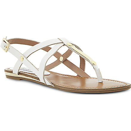 STEVE MADDEN Henna strappy toe post sandals (White-plain synthetic