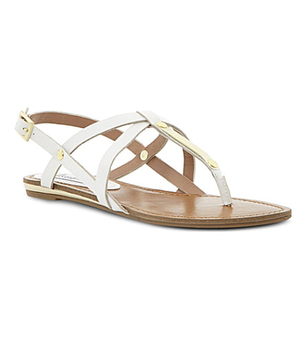 STEVE MADDEN Henna strappy toe post sandals (White-plain synthetic