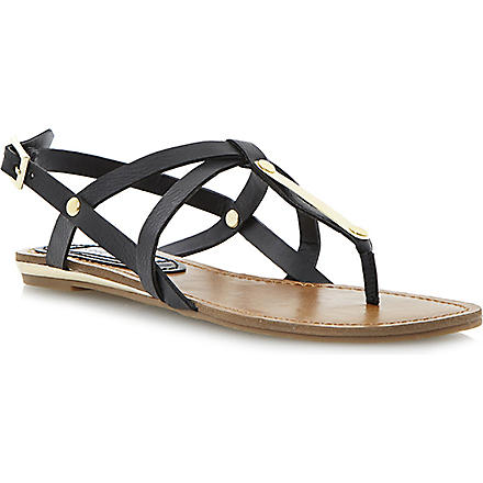 STEVE MADDEN Henna flat sandals (Black-plain synthetic
