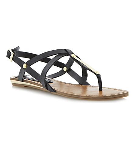 STEVE MADDEN Henna flat sandals (Black-plain synthetic