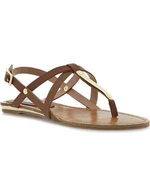 STEVE MADDEN Henna metal-detail faux-leather sandals
