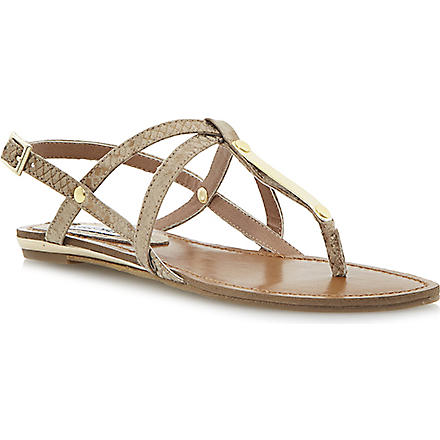 STEVE MADDEN Henna metal-detail snake-effect sandals (Gold-reptile synthetic