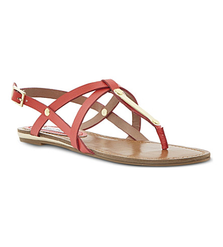 STEVE MADDEN Henna strappy toe post sandals (Coral-plain synthetic