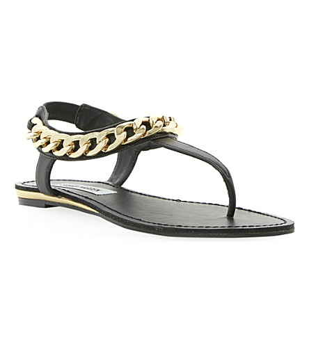 STEVE MADDEN Hotstuff chain detail toe post sandal (Black-synthetic