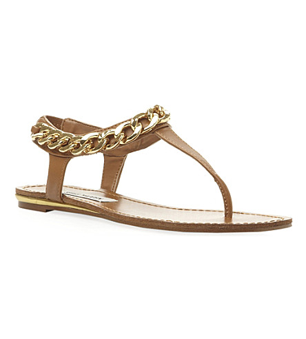 STEVE MADDEN Hotstuff chain detail toe post sandal (Tan-synthetic
