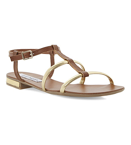 STEVE MADDEN Metallic t-strap sandals (Tan-leather