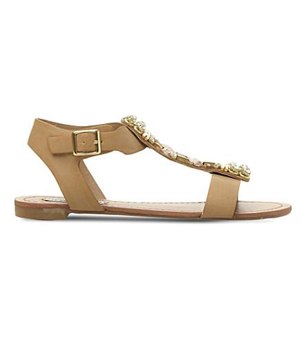 STEVE MADDEN Jewel embellished sandals (Tan-synthetic