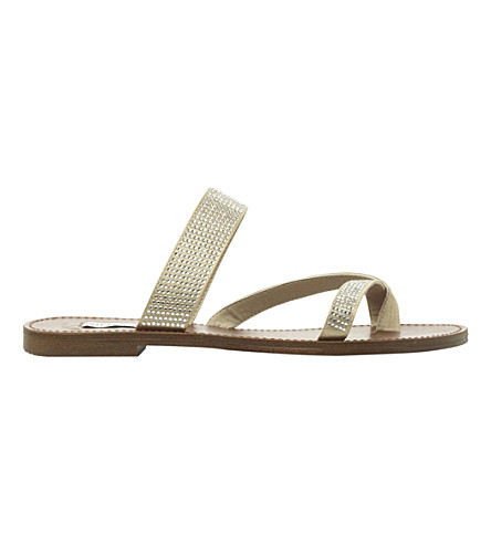 STEVE MADDEN Aintso metallic faux-leather flat sandal (Pewter-synthetic