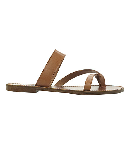 STEVE MADDEN Aintso faux-leather flat sandals (Tan leather