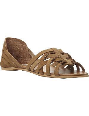 STEVE MADDEN Flute woven huarache leather flat sandals