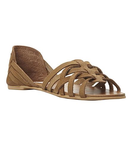 STEVE MADDEN Flute woven huarache leather flat sandals (Tan leather