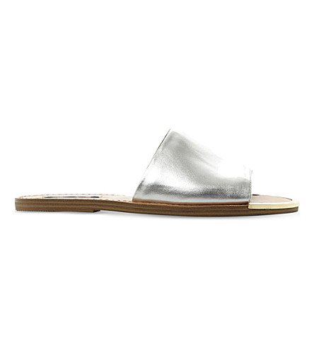 STEVE MADDEN Kidd leather sandals (Silver-leather