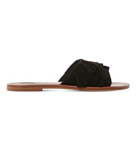STEVE MADDEN Getdown suede ruffle sandals (Black-suede