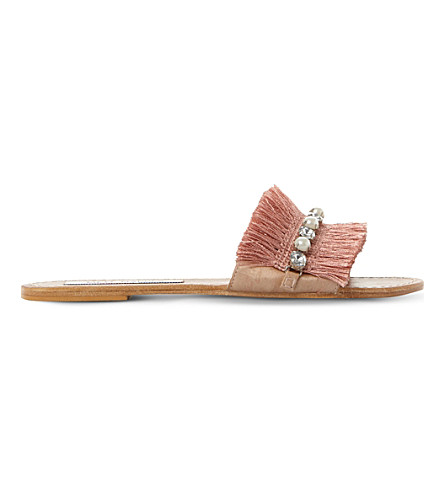 STEVE MADDEN Isabella fringed fabric sandals (Blush-fabric