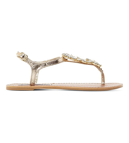 STEVE MADDEN Jackie Leather Sandals (Rose+gold-leather