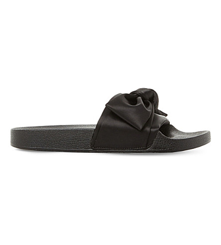 STEVE MADDEN Silky sm satin bow sliders (Black-satin