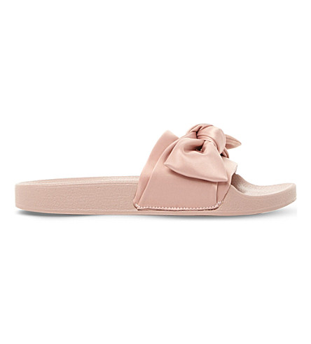 STEVE MADDEN Silky sm satin bow sliders (Blush-fabric