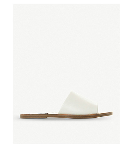 STEVE MADDEN Grace leather sliders (White-leather
