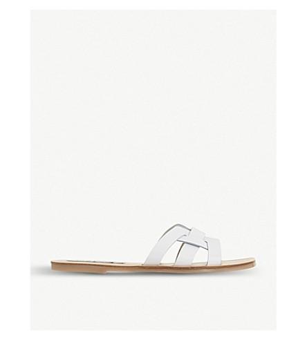 STEVE MADDEN 西西里岛梭织前凉鞋 (白色皮革